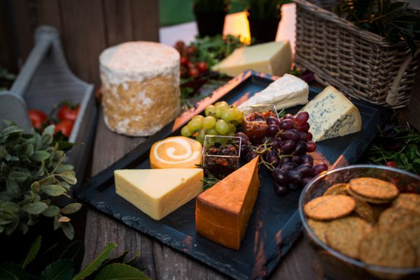 Cheese Platter Served with Chutney, Grapes & Crackers